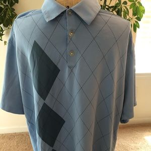 Nike golf fit dry polo large blue with argyle